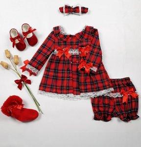 Jurkje Ruit rood Spanisch Style Girly met bijpassende broekje en haarband NEW