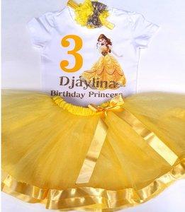 Prinses Verjaardag set Geel 1 tm 6 jaar met Naam