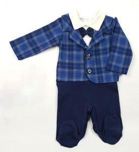 Baby Boxpakje Kostuum ruit blauw Onesie