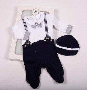 Baby Boxpakje stropdas grijs donker blauw Onesie