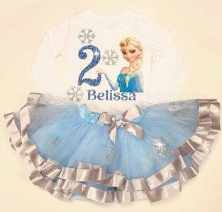 Prinses Verjaardag set Blauw 1 tm 8 jaar met Naam