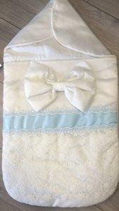Nestje Wrap strik wit blauw Met of zonder naam mogelijk