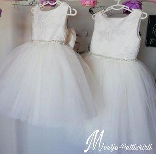 Bruidsmeisjesjurk Chiffon jurk Parel De luxe kant Ivoor maat 56 tm 176