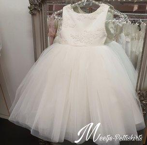 Bruidsmeisjesjurk Soft glitter Chiffon jurk V rug half lang Ivoor maat 56 tm 176