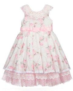 Broderie jurk roze wit Bloemen Kids 86 - 134